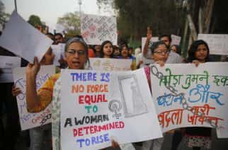 Indian women participate in a rally to mark International Women's Day in Allahabad, India. (AP Photo/Rajesh Kumar Singh)