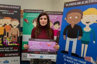 Zoe Cooper, Student Union Digital Communications Assistant at Sunderland University with some of the posters Picture: DAVID WOOD