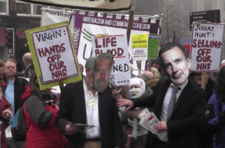 pro NHS supporters dressed as Richard Branson and Jeremy Hunt in NHS rally in Newcastle