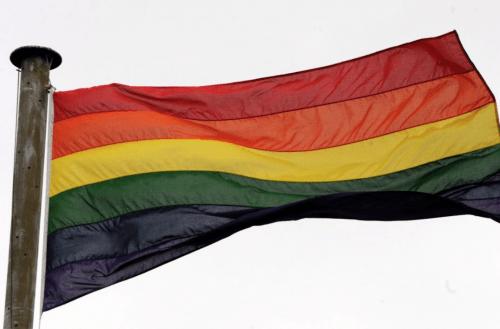 Rainbow Flag on Sunderland Civic Centre for International Day Against Homophobia