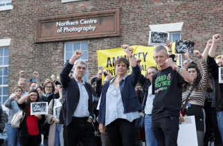 Students, academics, activists and campaigners outside of the University of Sunderland on Wednesday