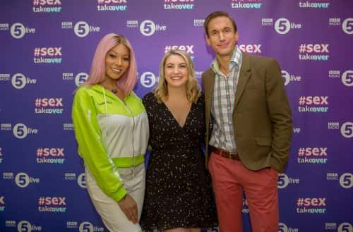 BBC Radio 5 Live #Sextakeover co-hosts TV Medic  Dr Christian Jessen, 5 Live's Anne Foster and model and activist Munroe Bergdorf attend the debate at the National Glass Centre in Sunderland Picture: DAVID WOOD
