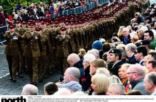 Dated: 11/11/2018 The 4th Regiment Royal Artillery at a special Remembrance Sunday service held at Sunderland's war memorial where members of the armed forces and veterans paid their respects to mark the Armistice centenary this morning (SUN).  NOT AVAILABLE FOR PRINT SALES