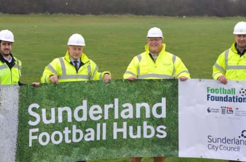 29/01/2019 Community football in Sunderland is being given a major boost with the start on site for three new multi-million pound Football Hubs at Community North Sports Complex (Downhill), Ford Quarry and The Northern Area Playing Fields (Washington) by Esh Construction. The £18.04m project is being funded by the Premier League, The FA, the Government, the Football Foundation, Sport England and Sunderland City Council. Pictured: Leader of Sunderland City Council Cllr Graeme Miller (right) with Active Sunderland Development Officer Simon Wardle  (left), Esh Build Divisional Director Paul Redman (2nd from left) and Esh Build Contracts Manager Geoff Steele (2nd from right). See Sunderland City Council press release