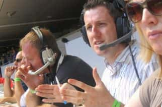 Sky Sports football commentator Gary Taphouse in action