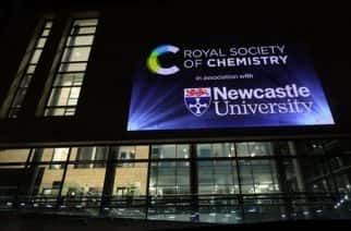 A light display at Newcastle University showing the Periodic Table coming alive in support of Chemistry Week.