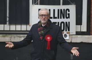 PA Images: British opposition Labour Party leader Jeremy Corbyn, gestures after casting his vote in the general election, in Islington, London, England, Thursday, Dec. 12, 2019 .U.K. voters are deciding Thursday who they want to resolve the stalemate over Brexit in a parliamentary election widely seen as one of the most decisive in modern times. (AP Photo/Thanassis Stavrakis)