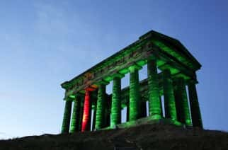 Penshaw Monument lit in green as part of a National NSPCC campaign. Photograph: Stuart Boulton