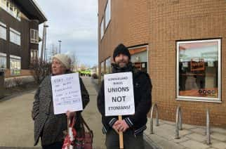 Vicar Chris Howson before this protest this morning