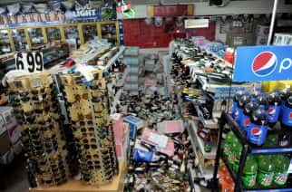 The aisles of the Eastridge Market Liquor store in Ridgecrest, California, California, were impassable after the 7.1 M earthquake on Friday, July 5. Earthquake 6 (Photo by JUAN CARLO/THE STAR via Imagn Content Services, LLC/USA Today Network/Sipa USA)