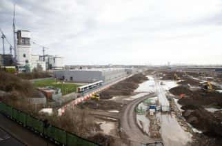 Construction work at Old Oak Common, in west London, where underground platforms for HS2 will link with Elizabeth line (Crossrail) trains, to Heathrow and central London.