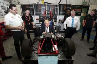 Britain's Prime Minister Boris Johnson during a visit to the Industry Centre at the University of Sunderland, on Friday Jan. 31, 2020. Britain officially leaves the European Union on Friday after a debilitating political period that has bitterly divided the nation since the 2016 Brexit referendum. (Scott Heppell/Pool Photo via AP)