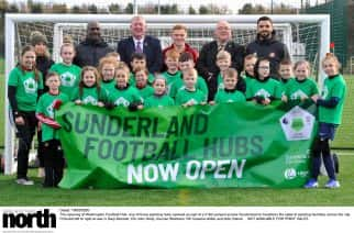 Dated: 19/02/2020 The opening of Washington Football Hub, one of three sporting hubs opened as part of a £18m project across Sunderland to transform the state of sporting facilities across the city. Pictured left to right at rear is Gary Bennett, Cllr John Kelly, Duncan Watmore, Cllr Graeme Miller and Alim Ozturk  NOT AVAILABLE FOR PRINT SALES