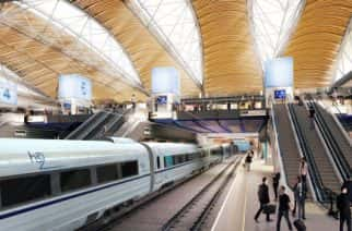 Architect's vision of a HS2 train at London Euston. Credit: PA Images
