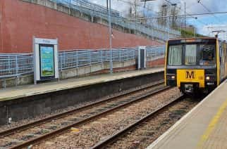 A Metro train arriving at Pallion - the least used station on the network.