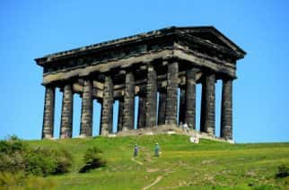 People enjoying the sunshine at Penshaw Monument, near Sunderland, as the warm weather continues across the UK.