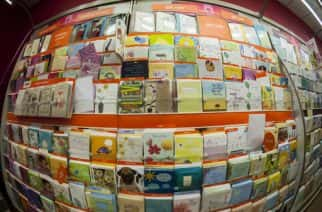 Greeting cards are seen in a a display in a store in New York on Thursday, April 17, 2014. With the exception of cards costing over $10 and low-end cards at $1 or less sales of greeting cards are dropping and retailers such as CVS and Walmart are cutting back on the amount of linear footage devoted to the product. (Photo by Richard B. Levine)