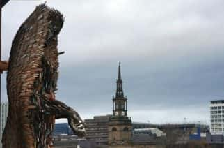 The 'Knife Angel' sculpture, which has been created with 100,000 knives collected by 41 police forces across the country via knife amnesties and confiscations, after it was installed outside the Sage Gateshead. The 27-foot high artwork, created by artist Alfie Bradley, arrived in Gateshead following a campaign by Alison Madgin whose 18 year old daughter was stabbed to death in 2007.