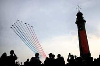 Red arrows perform a display during the Sunderland International Airshow. Credit: PA Images