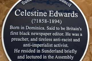 The blue plaque commemorating Celestine Edwards, Britain's first black magazine editor, who worked in Sunderland in the 19th century.