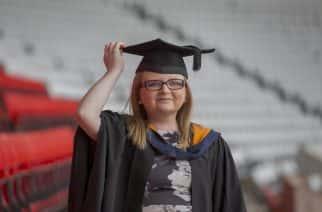 Sunderland University graduate Linzi Saunders attends the 2019 Summer Graduation ceremony at the Stadium of Light Picture: DAVID WOOD