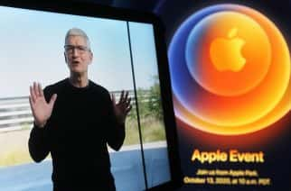 Apple CEO Tim Cook is seen on an IPad screen during the Apple event to launch the iPhone 12. Photo: Pavlo Gonchar / SOPA Images /Sipa USA.