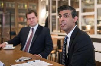 Chancellor of the Exchequer Rishi Sunak (right) with Housing Secretary Robert Jenrick, hosting a roundtable for business representatives at Franco Mana in Waterloo, London. The Chancellor is set to announce a new support package for businesses affected by Tier 2 restrictions.