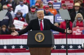 President Donald Trump speaks to supporters during a 'Make America Great Again' rally at Lancaster airport in Lititz, Pennsylvania on October 26.  Photo: Lev Radin/Sipa USA