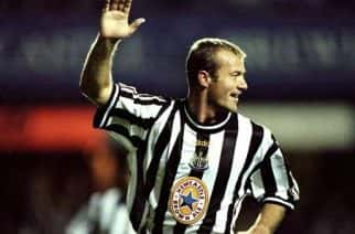 17 Sep 1998:  Alan Shearer of Newcastle celebrates a goal during the European Cup Winners Cup against Partizan Belgrade played at St James'' Park in Newcastle, England. Newcastle won the game 2-1.  Mandatory Credit: Clive Brunskill /Allsport