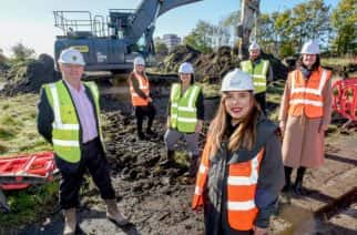 Councillor Rebecca Atkinson at the site of the new council houses