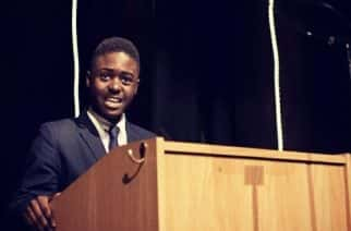 Micheal Khayne at the City of Westminster College for his Student Governors Speech, 2017.