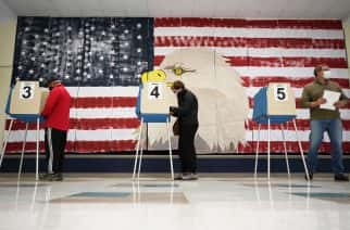 Voters cast their ballots under a giant mural at Robious Elementary school in Midlothian, Virginia. Poll workers said that traffic was slow due to all the early voting in the precinct. Photo: AP Photo/Steve Helber