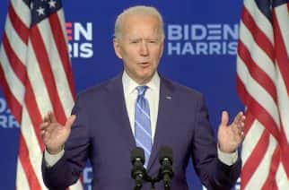 In this image from the Biden Campaign video feed, former United States Vice President Joe Biden, the 2020 Democratic Party nominee for President of the US, makes remarks on the election from the Chase Center in Wilmington, Delaware on Wednesday, November 4, 2020. Credit: Biden Campaign via CNP/Sipa USA