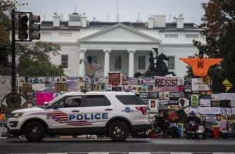 The scene today (Nov 6) in front of the White House, on day three after election day for the 2020 Presidential election. Photo: Jack Gruber-USA TODAY/Sipa USA