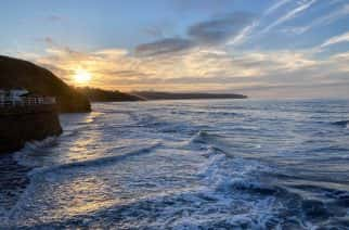 A sunset at Whitby Bay, Yorkshire.