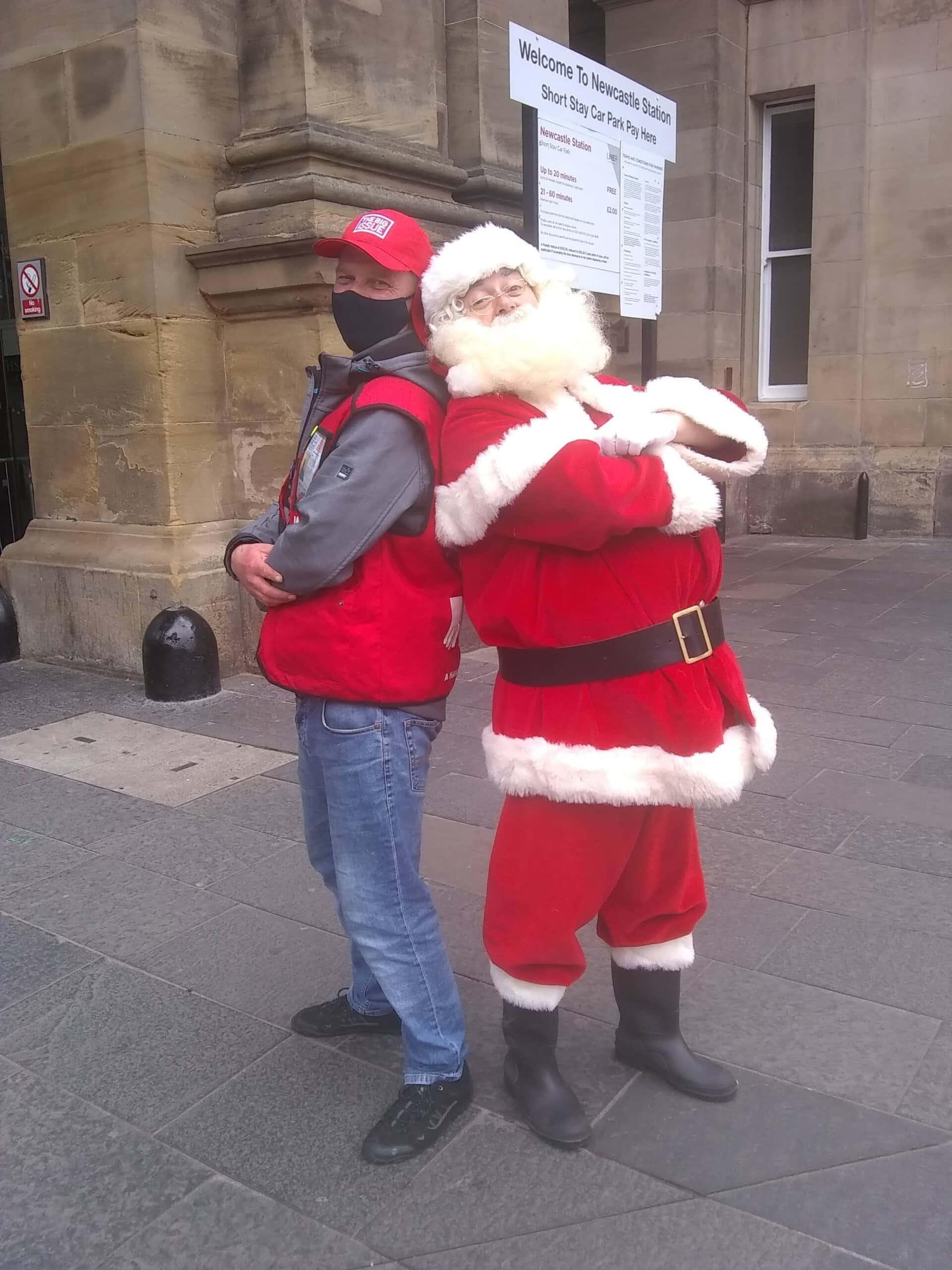 Earl Charlton Big Issue Vendor With Santa