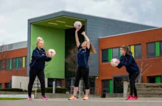 Philippa Nilsen, Sunderland University Netball Team squad member and committee President (center) with fellow squad and committee members Lucy Brooks (left) and Jessica Parker (right).  Picture: DAVID WOOD