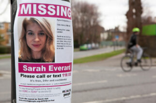 A missing persons poster showing Sarah Everard, the 33-year-old whose death in March sparked nationwide protests over women's safety. Photo: Anna Watson/Alamy Live News