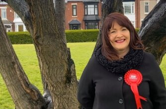 Ann Best, Candidate for the Westoe ward in the 2021 Local Elections, in Mowbray Park.